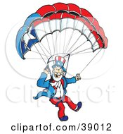 Clipart Illustration Of Uncle Sam Parachuting With A Patriotic Parachute by Snowy