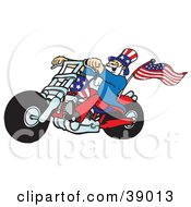 Clipart Illustration Of Uncle Sam Riding A Patriotic Chopper With A Flag On The Back by Snowy