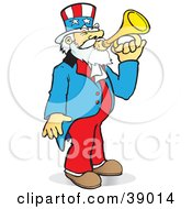 Clipart Illustration Of Uncle Sam Playing A Bugle