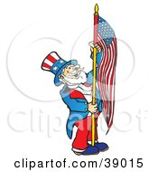 Clipart Illustration Of Uncle Sam Carrying An American Flag by Snowy