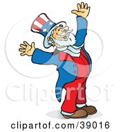 Clipart Illustration Of Uncle Sam Smiling Looking Upwards And Holding His Arms Up In Joy by Snowy