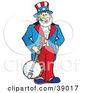 Clipart Illustration Of Uncle Sam Standing And Holding A Banjo by Snowy