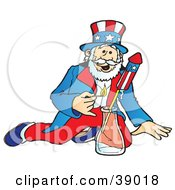 Clipart Illustration Of Uncle Sam Lighting And Shooting Off Bottle Rocket Fireworks On The Fourth Of July by Snowy