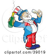 Clipart Illustration Of Uncle Sam Drinking Bubbly Champagne