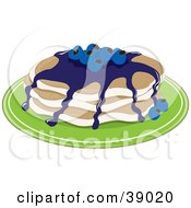 Clipart Illustration Of A Short Stack Of Buttermilk Pancakes Topped With Blueberries And Blueberry Syrup by Maria Bell