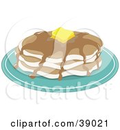 Clipart Illustration Of A Stack Of Three Pancakes With Melting Butter And Maple Syrup