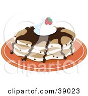 Clipart Illustration Of Chocolate Chip Pancakes Topped With Chocolate Syrup Whipped Cream And A Strawberry