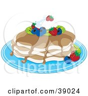 Clipart Illustration Of Buttermilk Pancakes Topped With Kiwis Strawberries Blueberries Whipped Cream And Maple Syrup by Maria Bell