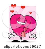 Pink Female Heart With Her Tongue Hanging Out Standing In Front A Pink Rectangle