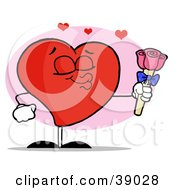 Clipart Illustration Of A Romantic Male Red Heart Puckering His Lips And Giving Pink Roses