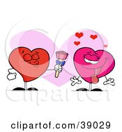 Clipart Illustration Of A Pink Female Heart Swooning While A Male Heart Puckers And Gives Her Roses