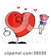Clipart Illustration Of A Sweet Male Red Heart Puckering His Lips And Holding Out Pink Roses