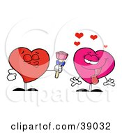 Clipart Illustration Of A Sweet Male Heart Giving Roses To An Infatuated Female