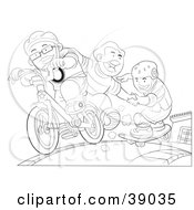 Clipart Illustration Of Three Boys Playing On Bikes And Skateboards Rolling Down A Sidewalk