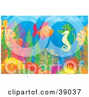 Poster, Art Print Of Underwater Scene Of A Saltwater Fish Chatting With A Green Seahorse Above A Coral Reef