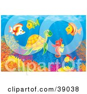 Clipart Illustration Of An Underwater Scene Of Marine Fish Socializing With A Seahorse And Sea Turtle Above A Coral Reef by Alex Bannykh