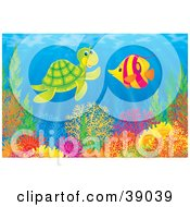 Clipart Illustration Of An Underwater Scene Of A Friendly Sea Turtle Chatting With A Marine Fish Above A Reef by Alex Bannykh