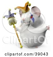 Clipart Illustration Of Hammy The Jester Hamster Wearing A Hat And Holding A Staff by Leo Blanchette