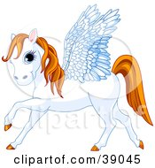 Blue Eyed White Winged Pegasus Horse With An Orange Mane And Tail