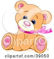 Adorable Brown Teddy Bear Wearing A Pink Ribbon Tilting Its Head And Sitting