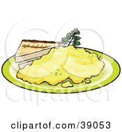 Clipart Illustration Of Two Slices Of Toast Served With Scrambled Eggs