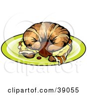 Clipart Illustration Of A Breakfast Croissant Sandwich With Bacon And Eggs