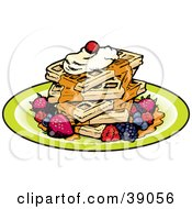 Stack Of Five Square Waffles Garnished With Whipped Cream Maple Syrup And Berries