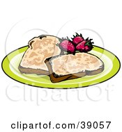 Clipart Illustration Of Two Slices Of French Toast Served With Strawberries