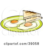 Two Fried Eggs Served With Toast