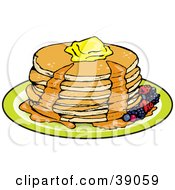 Clipart Illustration Of A Stack Of Six Buttermilk Pancakes Topped With Melting Butter And Oozing With Maple Syrup Garnished With Berries by Dennis Holmes Designs