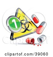 Clipart Illustration Of A Yellow Triangular Flu Phase 1 Warning Biohazard Sign With Pill Capsules