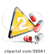 Clipart Illustration Of A Yellow Triangular Phase 2 Influenza Sign With Red And White Pill Capsules
