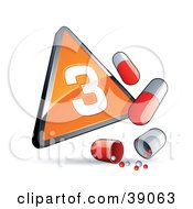 Orange Triangular Phase 3 Influenza Sign With Red And White Pill Capsules