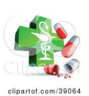 Shiny Green Caduceus Cross With Red And White Capsules