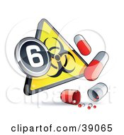 Yellow Triangular Flu Pandemic Phase 6 Warning Biohazard Sign With Pill Capsules