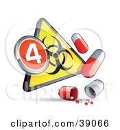 Clipart Illustration Of A Yellow Triangular Flu Phase 4 Warning Biohazard Sign With Pill Capsules