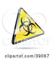 Shiny Yellow Warning Triangular Biological Hazard Sign