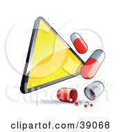 Clipart Illustration Of A Blank Shiny Yellow Triangular Warning Sign With Red And White Pill Capsules by beboy
