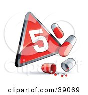 Clipart Illustration Of A Red Triangular Phase 5 Influenza Sign With Red And White Pill Capsules