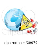 Blue Globe With A Biohazard Sign And Influenza Capsules