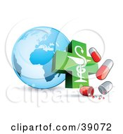 Clipart Illustration Of A Blue Globe With A Caduceus And Influenza Capsules