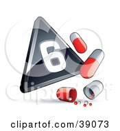Clipart Illustration Of A Black Triangular Pandemic Phase 6 Influenza Sign With Red And White Pill Capsules by beboy