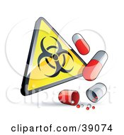 Clipart Illustration Of A Yellow Triangular Warning Biohazard Sign With Flu Capsules by beboy