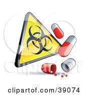 Yellow Triangular Warning Biohazard Sign With Flu Capsules
