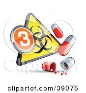 Yellow Triangular Flu Phase 3 Warning Biohazard Sign With Pill Capsules
