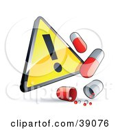 Clipart Illustration Of A Shiny Yellow Triangular Exclamation Point Warning Sign With Red And White Pill Capsules by beboy