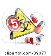 Yellow Triangular Flu Phase 5 Warning Biohazard Sign With Pill Capsules