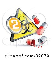 Clipart Illustration Of A Yellow Triangular Flu Phase 2 Warning Biohazard Sign With Pill Capsules