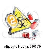 Yellow Triangular Flu Phase 2 Warning Biohazard Sign With Pill Capsules