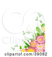 Clipart Illustration Of A Yellow And Pink Daisy Bouquet With Ferns